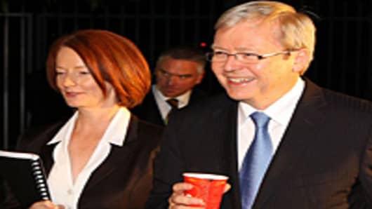 Australian Prime Minister Julia Gillard and former Foreign Minister Kevin Rudd.