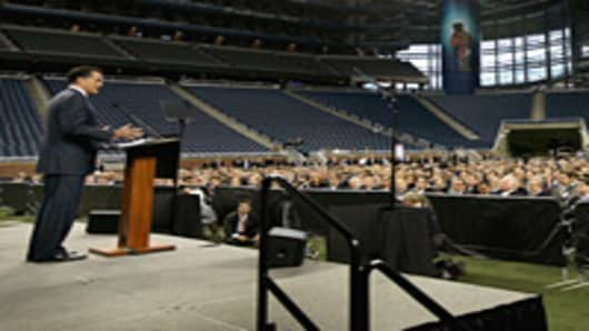 Republican presidential candidate, Mitt Romney speaks to members of the Detroit Economic Club during a luncheon at Ford Field .
