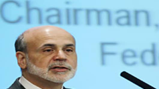Chairman of the Federal Reserve Ben Bernanke speaks at the Federal Deposit Insurance Corporation headquarters, on February 16, 2012 in Arlington, Virgina.