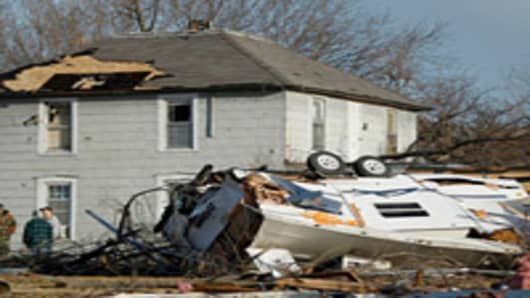 Property damaged by severe storms, Harveyville, Kansas.