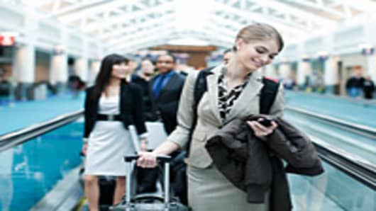 Business Woman Smartphone Airport