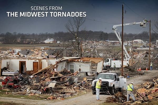 "As a ""super-cell"" of Tornadoes passed across the U.S. Midwest and South last week, small towns in Southern Indiana, Eastern Kentucky and Ohio were hit the hardest. Following tornadoes that touched down on Feb. 29th, on March 2nd, The Weather Channel reported that there were 279 tornado warnings issued, with an area of ""high risk"" spanning across 4 states. Many of the affected areas are have spent the past 10 months rebuilding their communities after last Spring's deadly tornadoes, but in the pas"