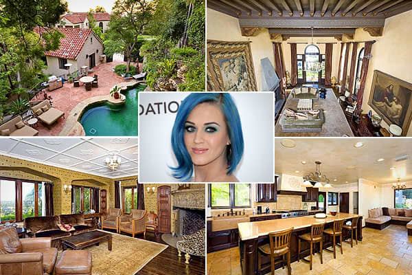 """Location: Los AngelesPrice: $6.5 million Bedrooms: 7Bathrooms: 9Square Footage: 8,835After 2010's """"Teenage Dream"""" made her the only female to have five number one singles from one album, Katy Perry was named MTV's 2011 artist of the year. But at the end of 2011, she and husband Russell Brand announced their plans to divorce. The couple purchased this compound for $6.5 million, according to the , in happier days (June 2011), and Brand has since . The Spanish-style , built in 1925, overlooks the"""