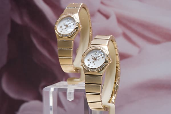 "Price: $22,000Carats: 0.54Crafted from 18k red or yellow gold with a bracelet set with 144 full cut diamonds and a mother of pearl dial, these watches are described by Omega, Swiss watch maker since 1848 as ""a compelling blend of elegance and the brand's best mechanical watch making technology"".In 2011 Swiss watchmakers dodged a triple whammy of a record high Swiss franc the disaster in Japan and the Arab spring with ease, delivering an impressive 19 percent growth of Swiss watch exports to 19.3"