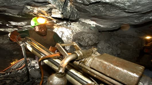 A miner at Vaal River gold mine, operated by AngloGold Ashanti in Klerksdorp, South Africa