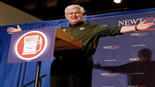 Republican presidential candidate, former Speaker of the House Newt Gingrich campaigns at the Wiregrass Museum of Art on March 10, 2012 in Dothan, Alabama.