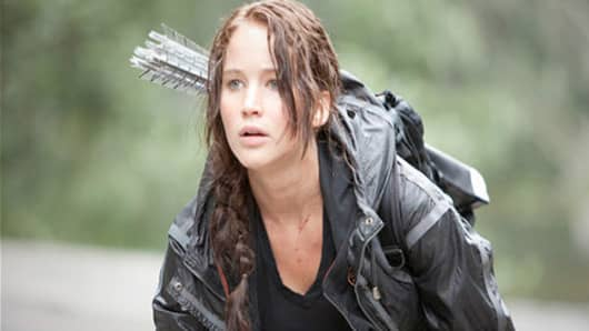 "Jennifer Lawrence in scene from the movie ""The Hunger Games""."