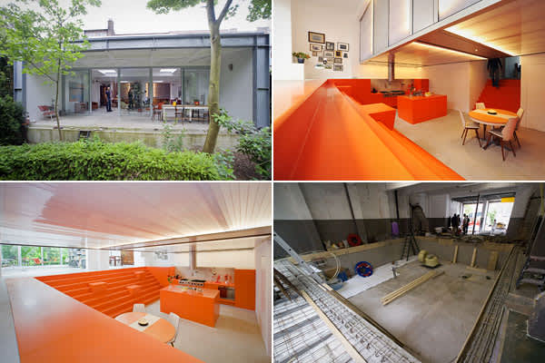 "Location: Rotterdam, HollandArchitect: Doepel Strijkers This 2,800-square-foot living space was converted in 2008 from an ambulance garage. The Doepel Strijkers team transformed what was a flat space into a multi-level habitation by creating a dugout in the center. That dugout also created room for a second level: The bedrooms are suspended over the sunken kitchen area in a polycarbonate ""light box"" with integrated LED lights. The kitchen has custom cupboards and chunks on the stairs up to the l"
