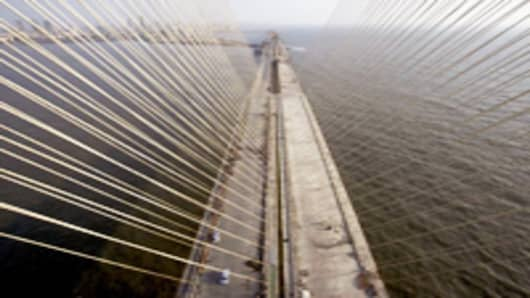 The Bandra-Worli sea link, also know as the Rajiv Gandhi Sea Link, in Mumbai, India.
