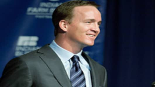 Peyton Manning speaks during a press conference announcing his release from the Indianapolis Colts.