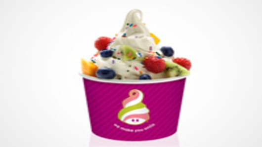 Menchie's Fruit & Sprinkles frozen yogurt.