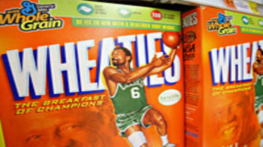Boxes of General Mills brand cereal Wheaties