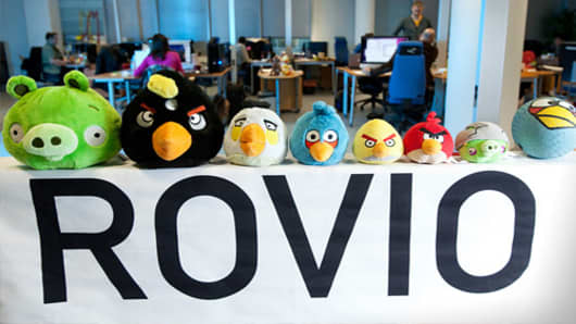 Angry Bird toys are seen on display at the headquarters of the game's developer Rovio Mobile Oy in Espoo, Finland.