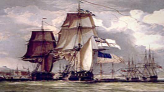 HMS SHannon leading the captured American frigate USS Chesapeake into Halifax, Nova Scotia (1813)