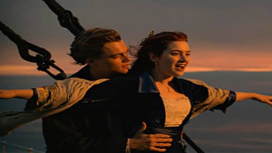 "Leonardo DiCaprio and Kate Winslet in a scene from the movie ""Titanic"""