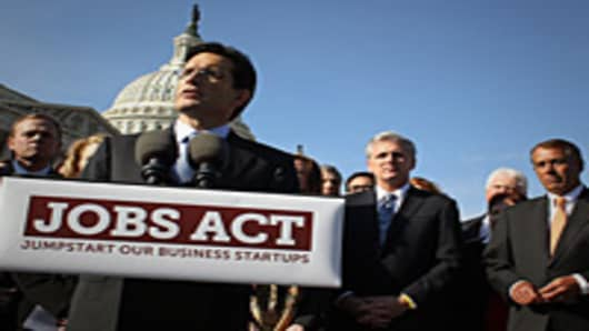 House Speaker John Boehner, and House Majority Leader Eric Cantor, participate in a news conference on the Jobs Act at the U.S. Capitol.