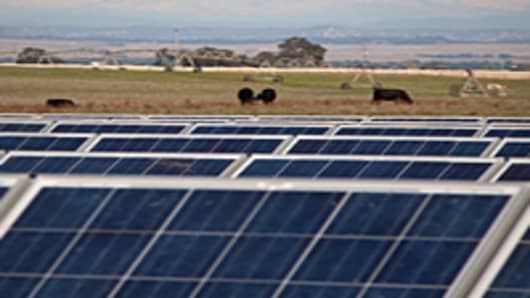 Recurrent Energy solar power plant on a farm in northern California.