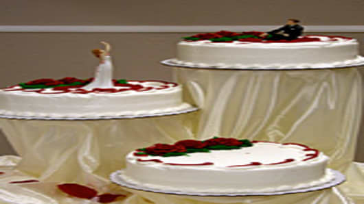Wedding cakes and cake stands purchased at Sam's Club.