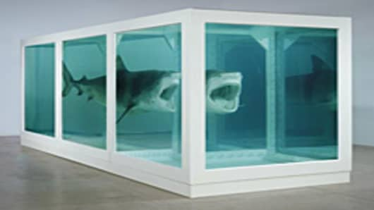 """The Physical Impossibility of Death in the Mind of Someone Living"" by Damien Hirst."
