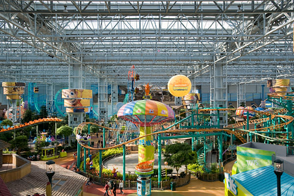 Attraction: Nickelodeon UniverseLocation: Bloomington, Minn.When you think megamall, you generally think of the in Minnesota. The 4.2 million square foot space, which could fit seven baseball stadiums, sees 40 million visitors a year. One in four are tourists. One of the main attractions, in addition to the 520 shops, is Nickelodeon Universe. The amusement park, which touts itself as the nation's largest indoor family theme park, is located on 7 acres in the center of the mall. Among the 27 attr