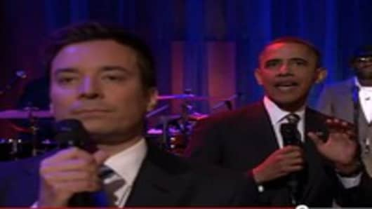 When Jimmy Fallon talks to the UNC audience about student loans, he decides a slow jam with President Obama is appropriate.