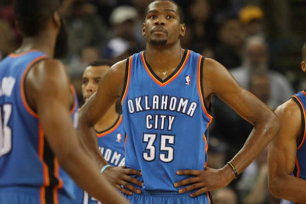 Durant (aka KD35) is one of the league's premier scorers. He has averaged more than 26 points per game during his five year career. Durant was originally drafted by the Seattle Sonics back in 2007. Following that season the team relocated to Oklahoma City, and Durant has helped make that city become relevant to basketball ever since. Some of Durant's more noteworthy off-the-court business partnerships have included Skull Candy, Nike, Gatorade and Degree.