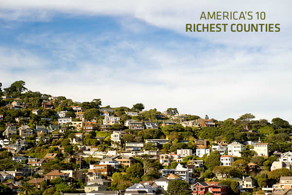 Just as counties are made up of more than towns and cities, the income of county residents depends on more than the local businesses. What follows are the 10 richest counties in America, according to the Average Income by County report from the Census Bureau, which includes the average annual household income from 2006-2010. These counties don't just contain Fortune 500 business headquarters (though some of them do), and it's not just the acres of upscale retail that at least one county has that