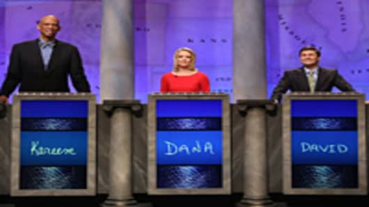 Kareem Abdul Jabbar, Dana Perino and David Faber compete on Jeopardy.