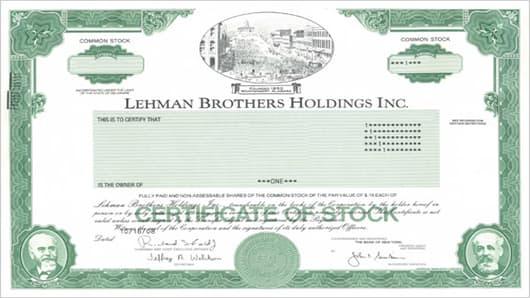 Lehman Brothers stock certificate