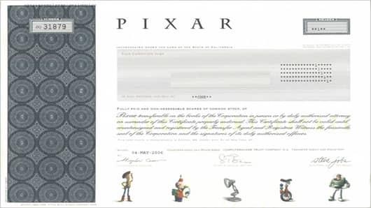 Pixar stock certificate