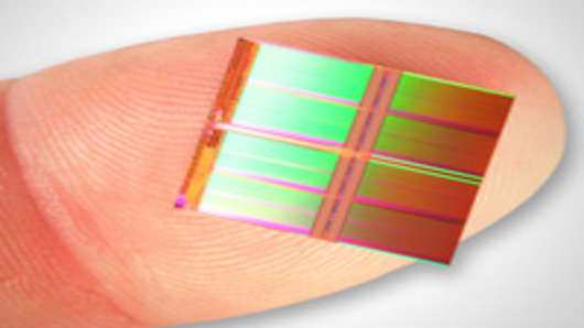 World's highest capacity NAND flash memory die, developed by Micron and Intel.