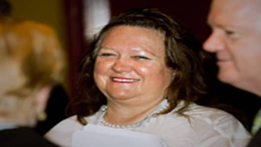 Gina Rinehart, chairwoman of Hancock Prospecting Pty., attends the Commonwealth Business Forum in Perth, Australia, on Wednesday, Oct. 26, 2011.
