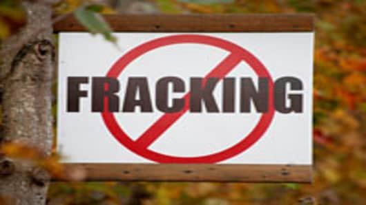 A sign protesting 'fracking,' is posted on a rural road in Tunkhannock, Pennsylvania, U.S.