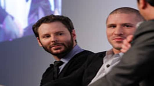 Airtime Co-founder and Executive Chairman Sean Parker and Airtime Co-founder and CEO Shawn Fanning at the Airtime Launch Press Conference at Milk Studios on June 5, 2012 in New York City.