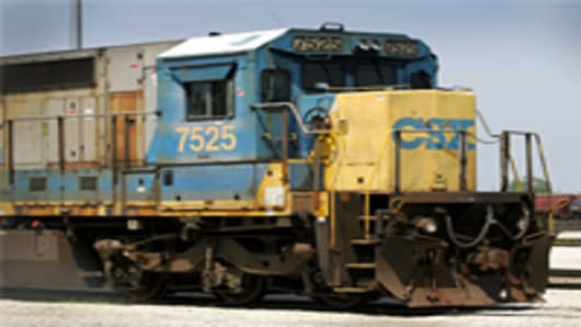 A CSX. Corp locomotive engine.