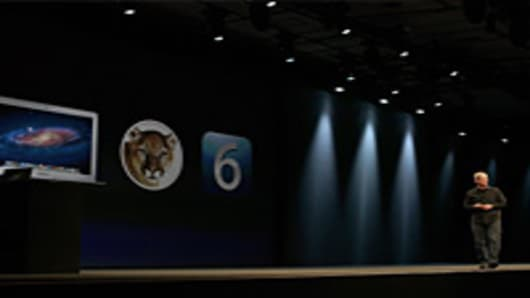 Apple CEO Tim Cook delivers the keynote address during the keynote address at the Apple 2012 World Wide Developers Conference (WWDC).