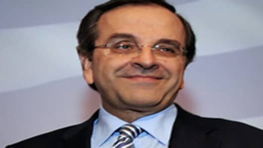 Greece's conservative party leader Antonis Samaras.