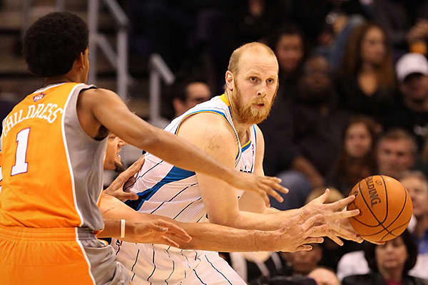 "Team: New Orleans HornetsMinutes Played: 1,372Wins Produced: -1.24Value of Wins: -$2,413,480Salary: $12,200,000Overpaid: $14,613,480Chris Kaman played with the Los Angeles Clippers from 2003 until 2011, when he was traded to New Orleans. He proved an asset immediately, recording  in his first game. Still, Berri says that the player is overpaid.""The numbers tell us that Kaman probably isn't going to be the answer to anyone's prayers,"" he said. ""Although he is capable of launching shots at the bas"