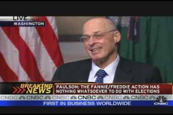 Paulson on Fannie Mae/Freddie Mac