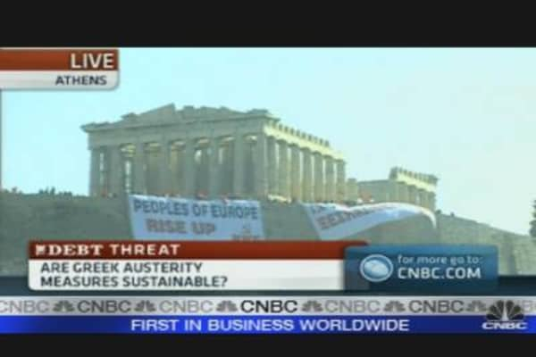 Protest Banners on Greece's Acropolis