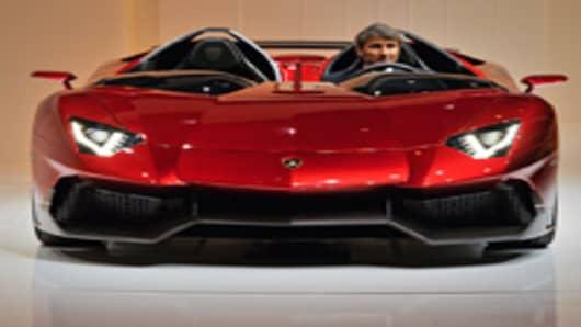 Lamborghini President and CEO Stephan Winkelmann introduces the new Lamborghini Aventador model car.