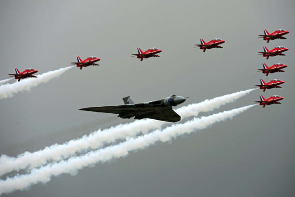 The airshow opened with a joint flypast of the Red Arrows (the U.K. Airforce's aerobatics team) and the world's last airworthy Avro Vulcan bomber. A relic of the Cold War, the historic plane was the first of its kind to be delivered to the RAF in July 1960, and the last Vulcan to leave military service in 1993.The Vulcan initially carried the U.K.'s first nuclear weapon, the Blue Danube gravity bomb, and was equipped to attack the former Soviet Union.