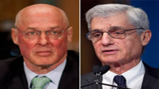 Treasury Secretaries, Hank Paulson and Robert Rubin.