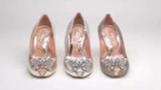 Aruna Seth's butterfly shoe created in Bronze, Silver and Gold inspired by the Olympic medals.