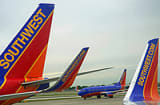 Southwest Airlines passenger planes are seen at Chicago's Midway Airport in Illnois.
