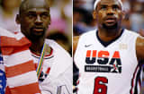 Michael Jordan (l) in the 1992 Barcelona Olympics. LeBron James (r) of the US Men's Senior National Team.