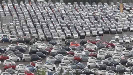 Cars parked at the Toyota auto terminal in Port of Portland, Oregon.