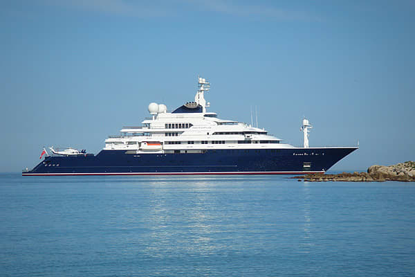 Length: 414 feetTop speed: 20 knotsTotal power: 19,200 hpPurchased by Microsoft (MSFT) co-founder Paul Allen for $121 million in 2003, the Octopus features some intriguing onboard toys, including a 63-foot tender, two2 submarines, a remote control submarine, a dock for Jet Skis, a pool, and two helicopters on the top deck.It has also been used for humanitarian efforts. Allen loaned the yacht to a flotilla helping to stop the poaching of giant clams, and it helped in the for an American pilot and