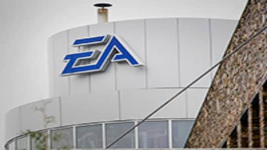 Electronic Arts Inc. (EA) signage is displayed outside of the company's office in Vancouver, British Columbia, Canada.