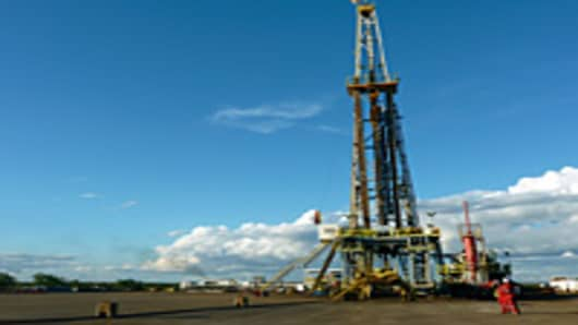 An oil drilling rig in the Junin 10 field in the Orinoco Oil Belt, in Anzoategui, Venezuela on January 24, 2012.